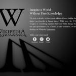 Página de Wikipedia oscurecida en protesta contra la Ley SOPA